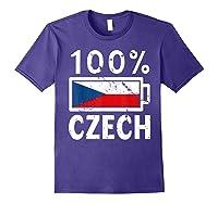Czech Republic Flag Shirt 100 Czech Battery Power Tee Purple