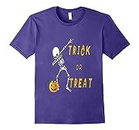 Trick Or Treat Dabbing Skeleton Pumpkin Bucket Halloween Dab Shirts Purple