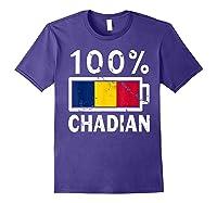 Chad Flag T Shirt 100 Chadian Battery Power Tee Purple