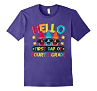 Hello First Day Of Fourth Grade Cute Crayon Student Tea Shirts Purple