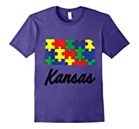 Autism Awareness Day Kansas Puzzle Pieces Gift Shirts Purple