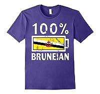 Brunei Flag T Shirt 100 Bruneian Battery Power Tee Purple