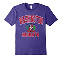 Washington Heights Dominican Flag Shield Varsity Style T Shirt Purple