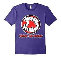Funny Creepy Halloween Vampire Tooth Trick Treat Shirts Purple