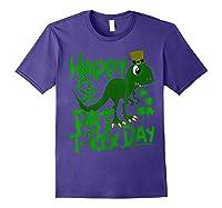 Happy St Pat T Rex Day T Shirt Saint Patrick S Dinosaur Purple