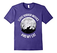 I Love Horror Movies And My Cat T Shirt Purple