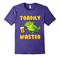 Funny Frog Drink Beer Toadily Wasted Beer Party Gift T Shirt Purple