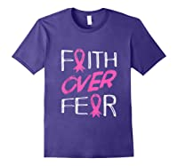 Faith Over R Breast Cancer Awareness Month Pink Ribbon Tank Top Shirts Purple