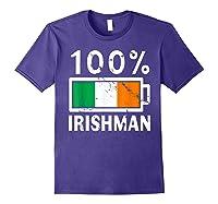 Ireland Flag T Shirt 100 Irishman Battery Power Tee Purple