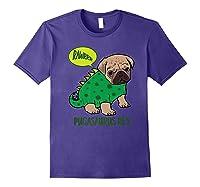 Pugasaurus Rex Cute Pug Dinosaur T Rex Halloween Costume Premium T-shirt Purple