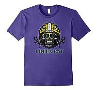 Green Bay Football Helmet Sugar Skull Day Of The Dead Premium T-shirt Purple