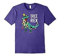 Christmas Tree Rex Shirts Dinosaur T-rex Raglan Baseball Tee Purple
