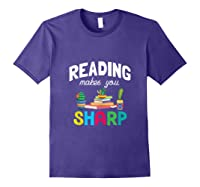 Reading Makes You Sharp Bookish Book Reader Read A Book Day Tank Top Shirts Purple
