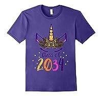 Unicorn Face Class Of 2034 First Day Kindergarten Girls Gift T-shirt Purple