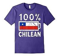 Chile Flag T Shirt 100 Chilean Battery Power Tee Purple
