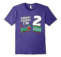 I'm Two Train 2nd Birthday Boy 2 Train Gift Shirts Purple