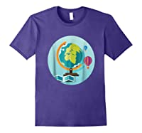 Science Design 4 Geography Travel T Shirt Purple