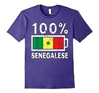 Senegal Flag T Shirt 100 Senegalese Battery Power Purple