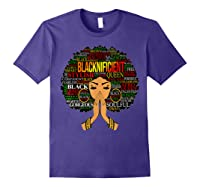 Blacknificient Words Art Afro Natural Hair Black Queen Gift Shirts Purple