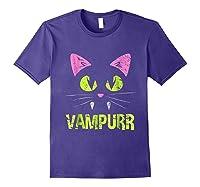 Halloween Scary Cat Vampire Vampurr Girl Shirts Purple