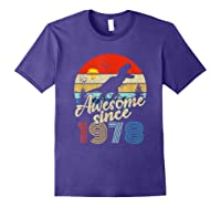Dinosaur 41st Birthday Gifts Awesome 1978 41 Yrs Old Shirts Purple