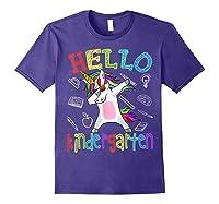 Hello Kindergarten Unicorn Tshirt Funny Back To School Gift Purple