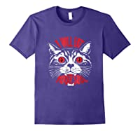 I Will Eat Your Soul Satanic Cat Spooky Halloween T Shirt Purple