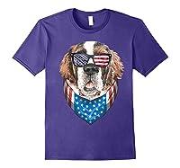 Fourth Of July Bernard American Flag July 4th St Bernard Dog T Shirt Purple