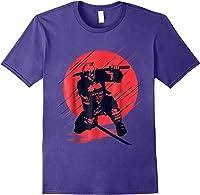 Marvel Deadpool Red Moon Samurai Graphic T-shirt Purple