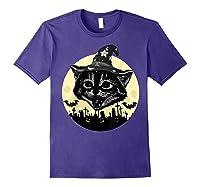 Vintage Scary Halloween Black Cat Witch Hat Moon Pumpkin Bat T Shirt Purple