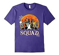 Skeleton Unicorn Pumpkin Dabbing Squad Team Halloween Tshirt Purple