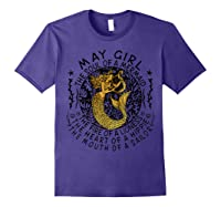 May Girl The Soul Of A Mermaid Tshirt Funny Gifts Wome T Shirt Purple