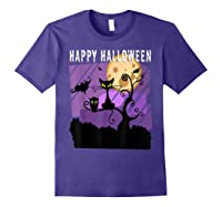 Spoopy Funny Halloween Black Cat Witch Hallow S Eve Joke T Shirt Purple