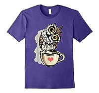 Cute Owl Cartoon Bird Hand Draw T Shirt Design Purple