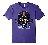 Denver Football Helmet Sugar Skull Day Of The Dead T Shirt Purple