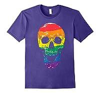 Lgbt Gay Pride T-shirt Skull Rainbow Purple