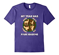 My Year Has Four Seasons Turkey Deer Elk Duck Hunting Shirt Purple