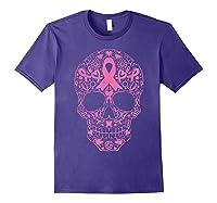 Sugar Skull Pink Ribbon Calavera Breast Cancer Awareness T Shirt Purple