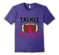 Breast Cancer Awareness Month Football Pink Ribbon T Shirt Purple
