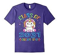 Class Of 2031 Grow With Me Unicorn Back To School Shirts Purple