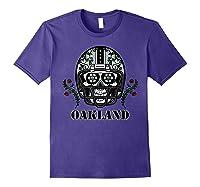 Oakland Football Helmet Sugar Skull Day Of The Dead T Shirt Purple