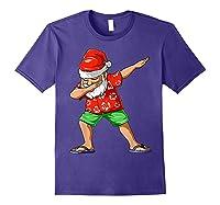 Dabbing Santa Christmas In July Party Hawaiian Santa Beach Shirts Purple
