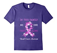Family Support Breast Cancer Awareness Month Pink Ribbon Tee T Shirt Purple
