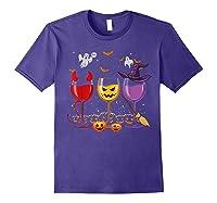 Three Glasses Of Wines Funny Halloween Wine Lover Shirts Purple