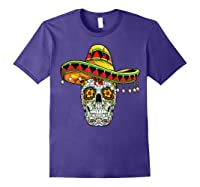 Day Of The Dead Sugar Skull Funny Cinco De Mayo T Shirt Purple