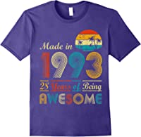 Made In 1993 Vintage Retro 28 Years Old 28th Birthday Gifts T-shirt Purple
