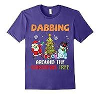 Dabbing Around The Christmas Tree Santa Clause Snowman Ugly T-shirt Purple