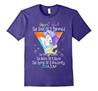 April Girl The Soul Of A Mermaid The Fire Of A Lioness Shirts Purple