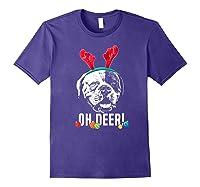 Oh Deer Funny American Bulldog Xmas Premium T-shirt Purple
