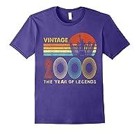19th Birthday Gift Vintage 2000 T-shirt 19 Years Old T-shirt Purple